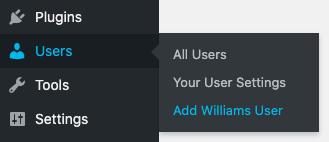Add Williams user link in menu