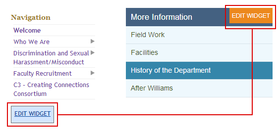 Edit widget link for Williams purple (left) and Williams Meerkat (right)