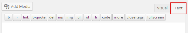 Select the text tab to add/edit HTML
