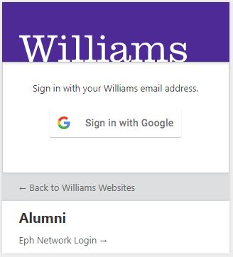 """Screenshot of login screen for Williams College websites, featuring """"Sign in with Google"""" login button"""