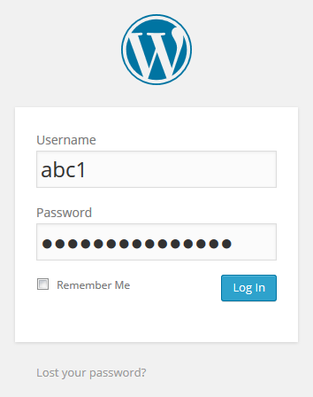 WordPress login - use your email username & password