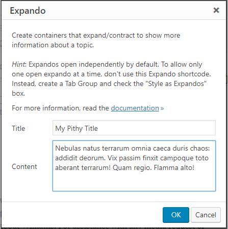 Expando settings dialog