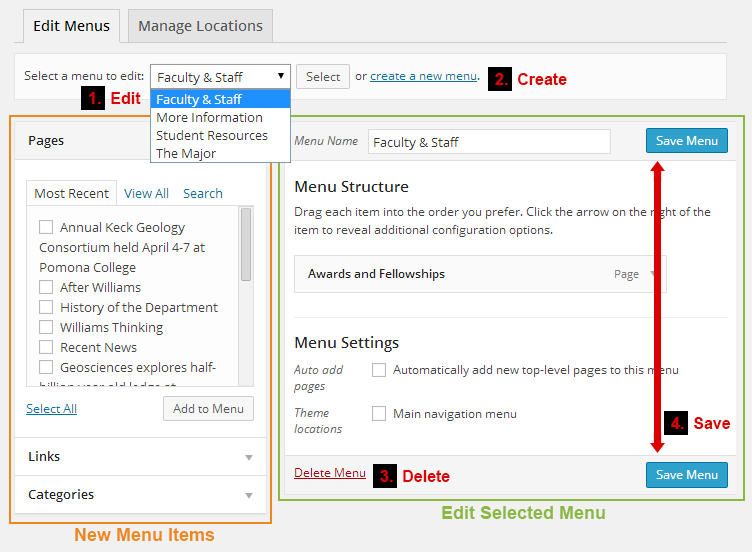 Figure 1: menu editing interface