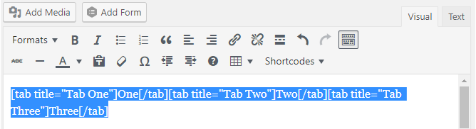 Selected tabs